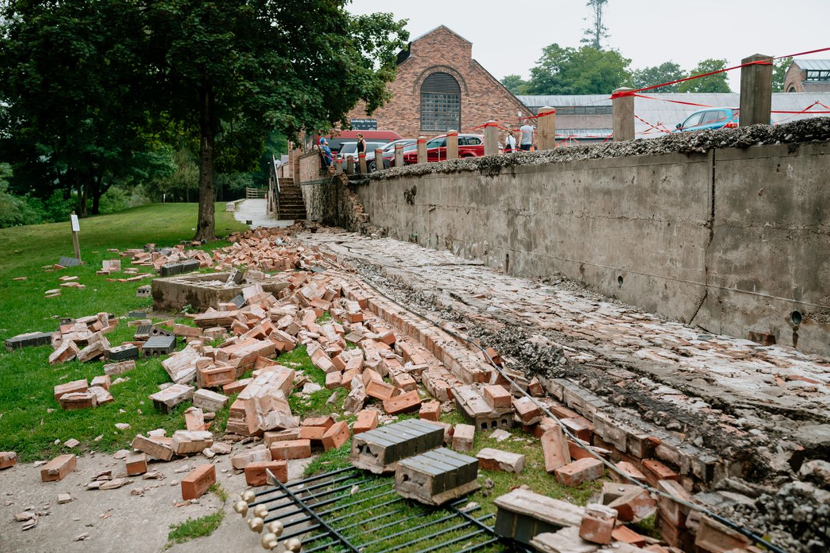 A wall collapsed in Ironbridge during the storms