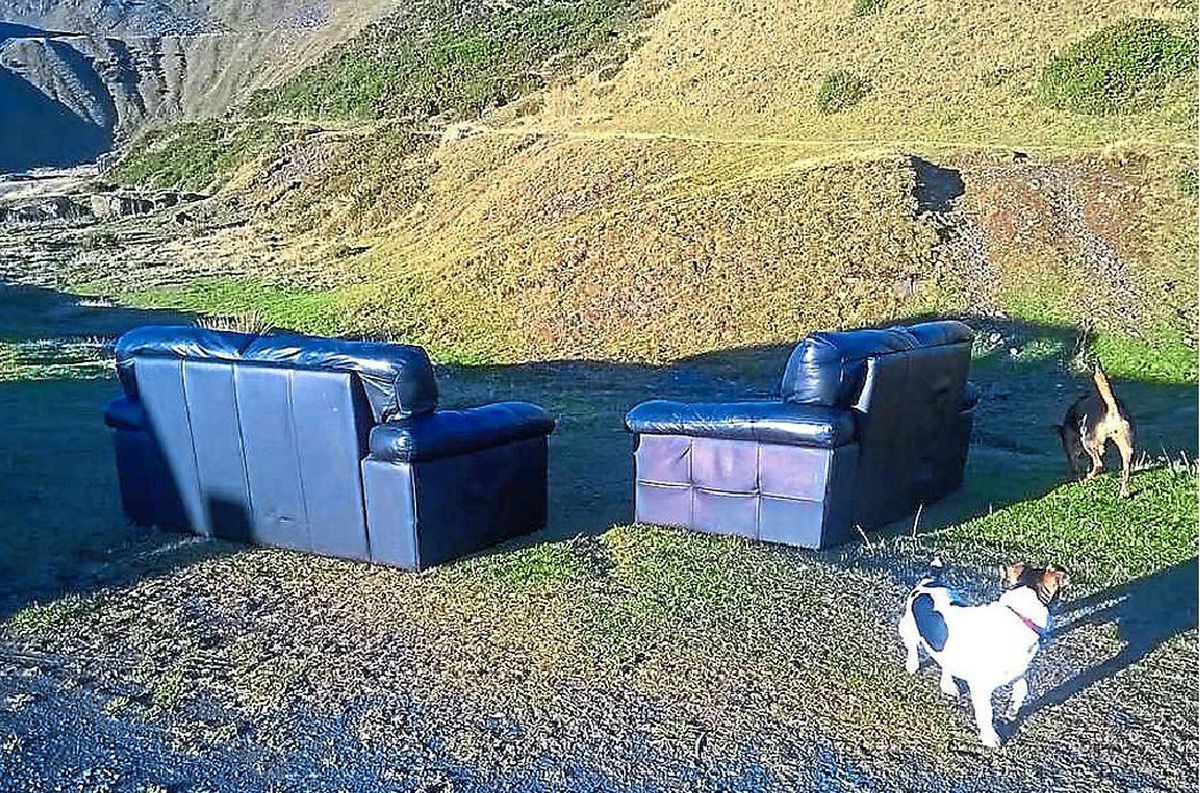 A pair of dumped sofas made for a bizarre sight on Clee HIll in Shropshire