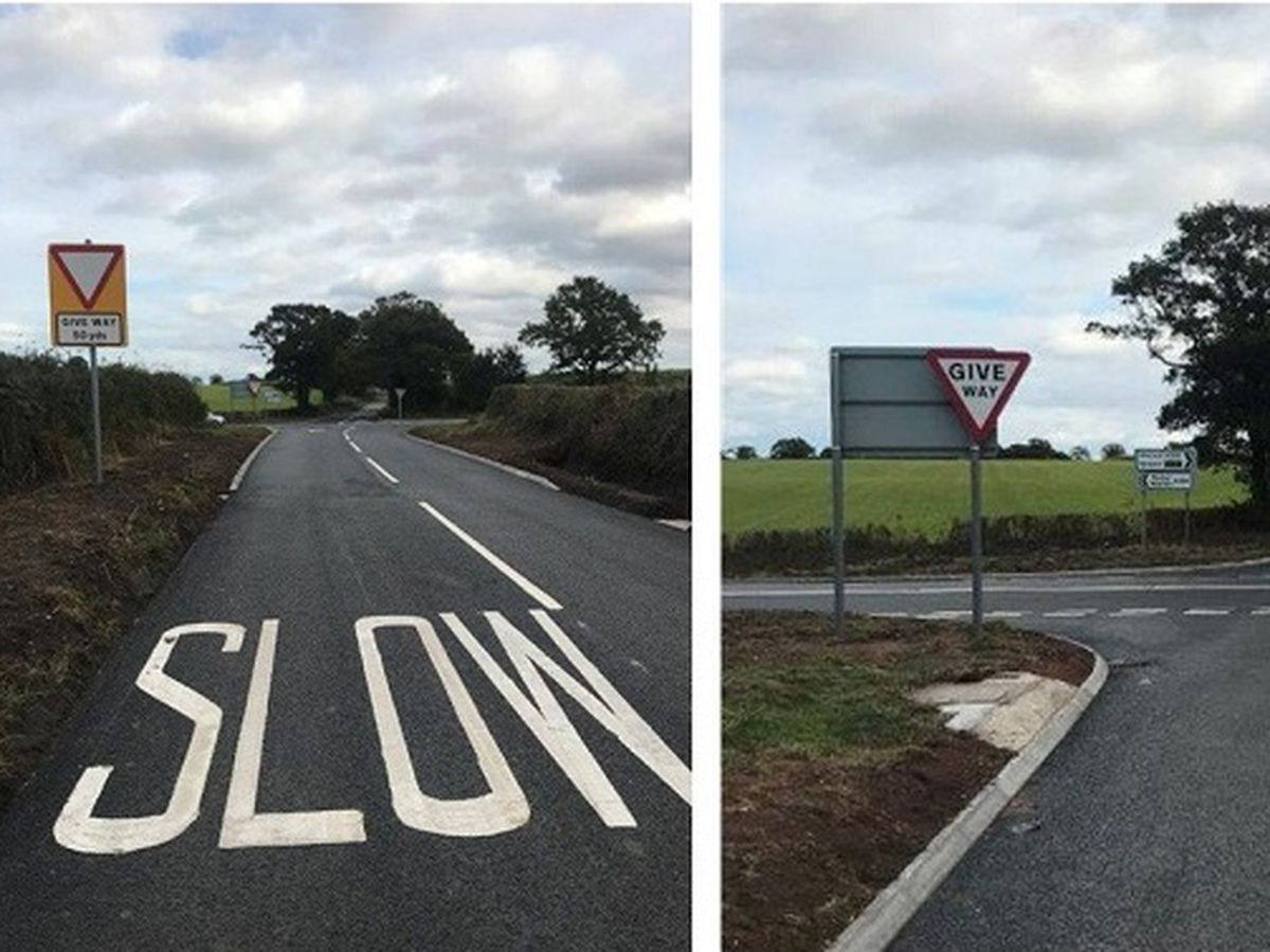 After pictures show how the crest has been removed and that the Give Way line is now visible