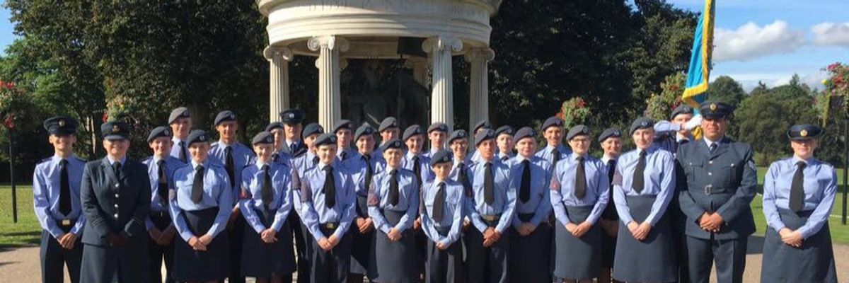 The Shrewsbury cadets at a Battle of Britain parade.