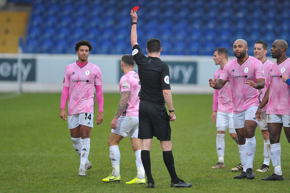 TELFORD COPYRIGHT MIKE SHERIDAN RED CARD. Lee Vaughan of Telford is sent off during the Vanarama Conference North fixture between AFC Telford United and Chester FC at Deva Stadium on Saturday, January 2, 2020...Picture credit: Mike Sheridan/Ultrapress..MS2021-053.