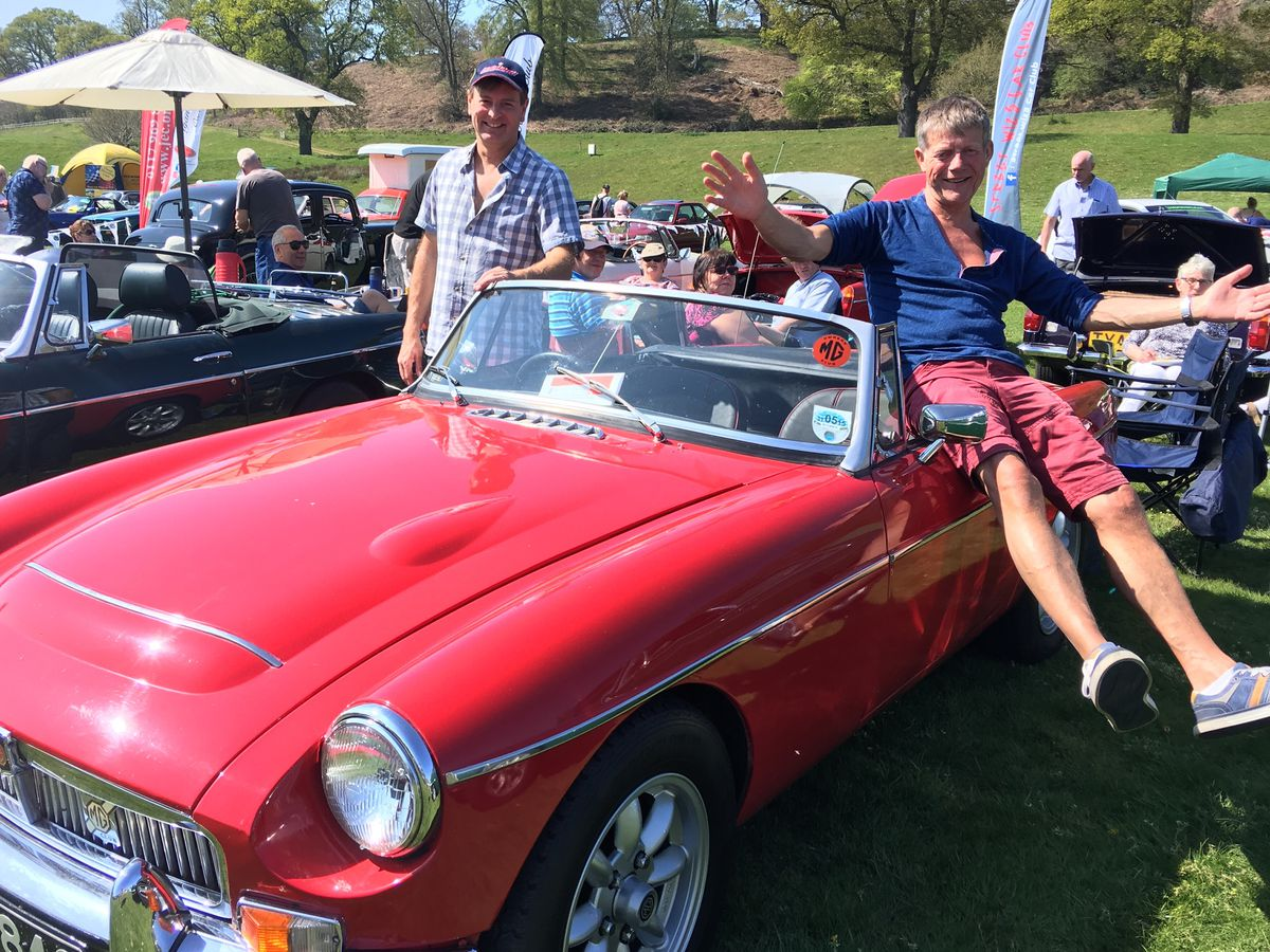 Bernard Brett and Simon Ryder with Bernard's MGC Roadster