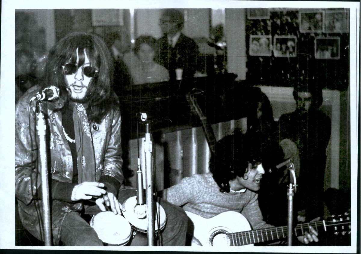 Early days: Tyrannosaurus Rex, starring Steve Peregrine Took and Marc Bolan) performing at Frank Freeman's school of dance in Kidderminster during the late 1960s