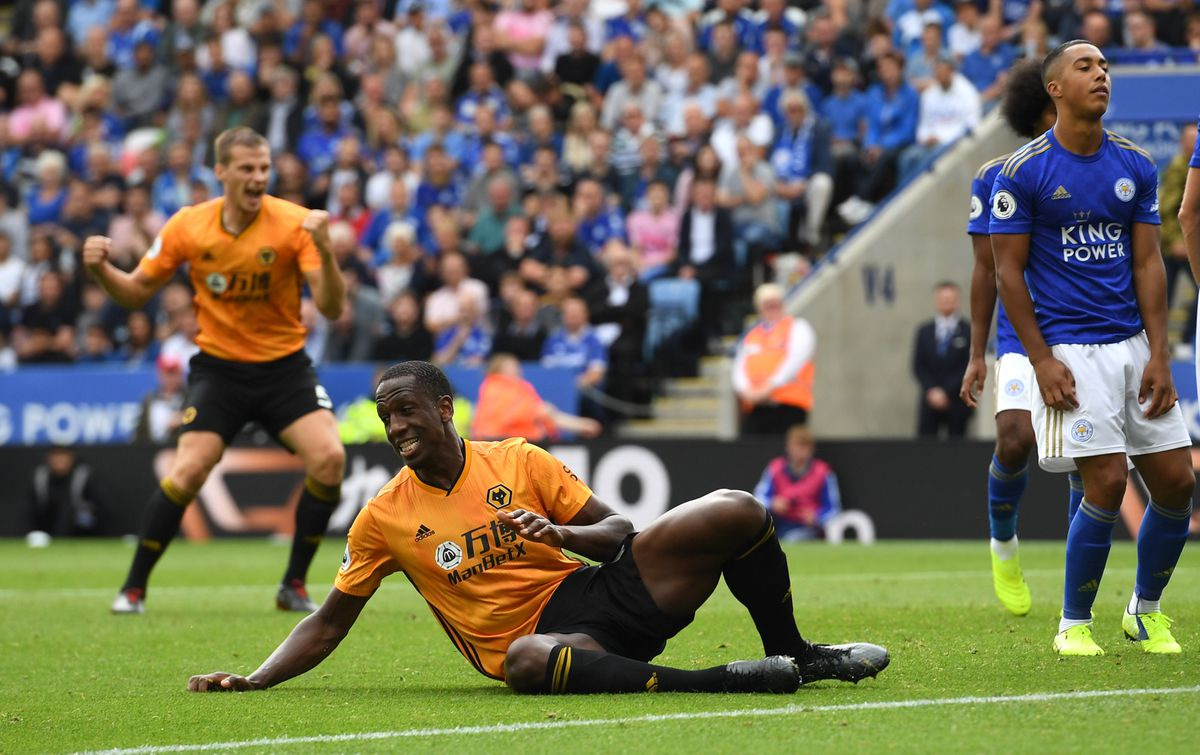 Willy Boly of Wolverhampton Wanderers reacts prior to Leander Dendoncker of Wolverhampton Wanderers having his goal cancelled out after a VAR decision (AMA)