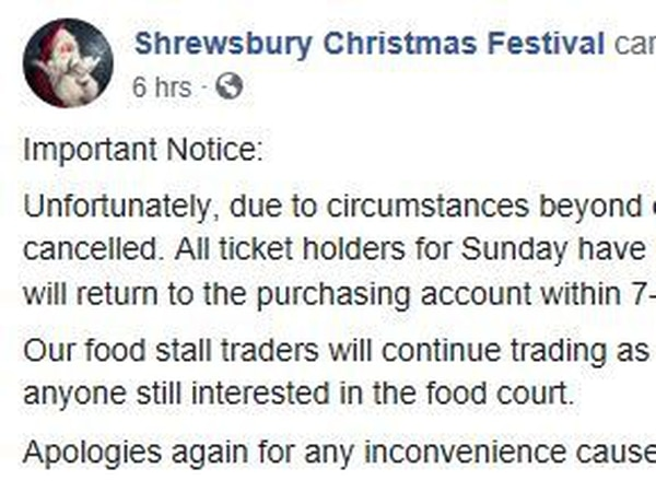 Shrewsbury Christmas Festival cancelled after one day