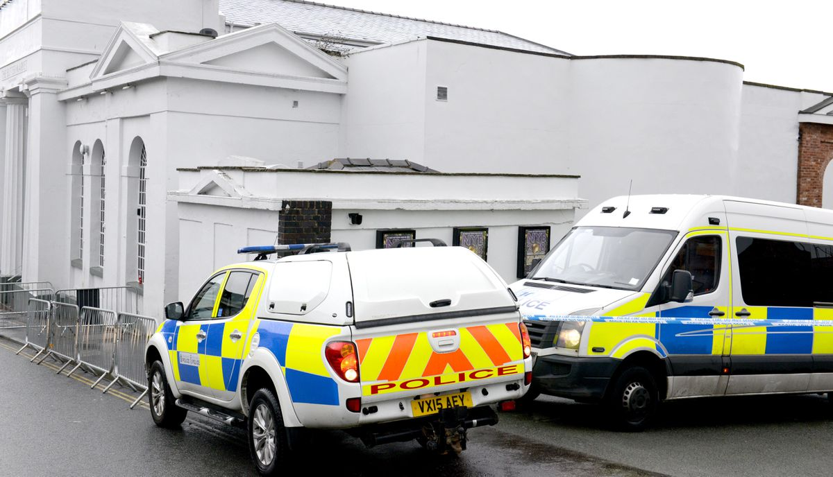 Police cars outside the Buttermarket nightclub, where two men were stabbed