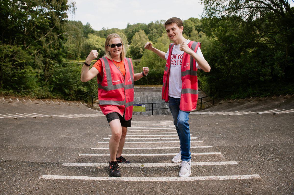 Telford parkrun organisers Kim Fawke and Nathan Green preparing for this weekend's return.