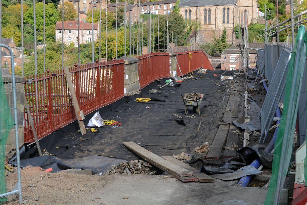 Scaffolding starts to be removed from the Iron Bridge after months of restoration