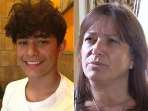 Felix Alexander, 17, killed himself after cyber-bullying. Right; Felix's mother Lucy.,