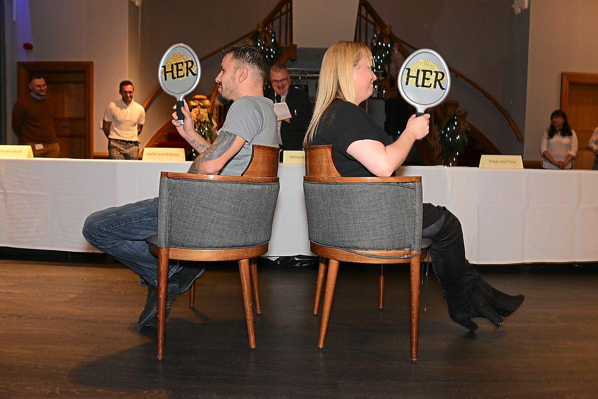 Jenna Jones and John Titley playing Mr & Mrs