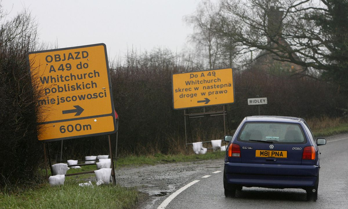 Some of the Polish road signs near Whitchurch which made national headlines in February 2007.