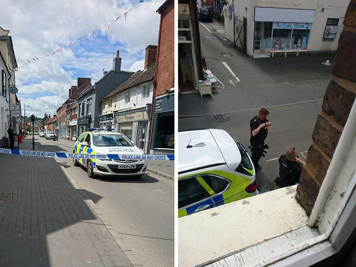 Police on the street in Bridgnorth: Picture: @LoveBridgnorth
