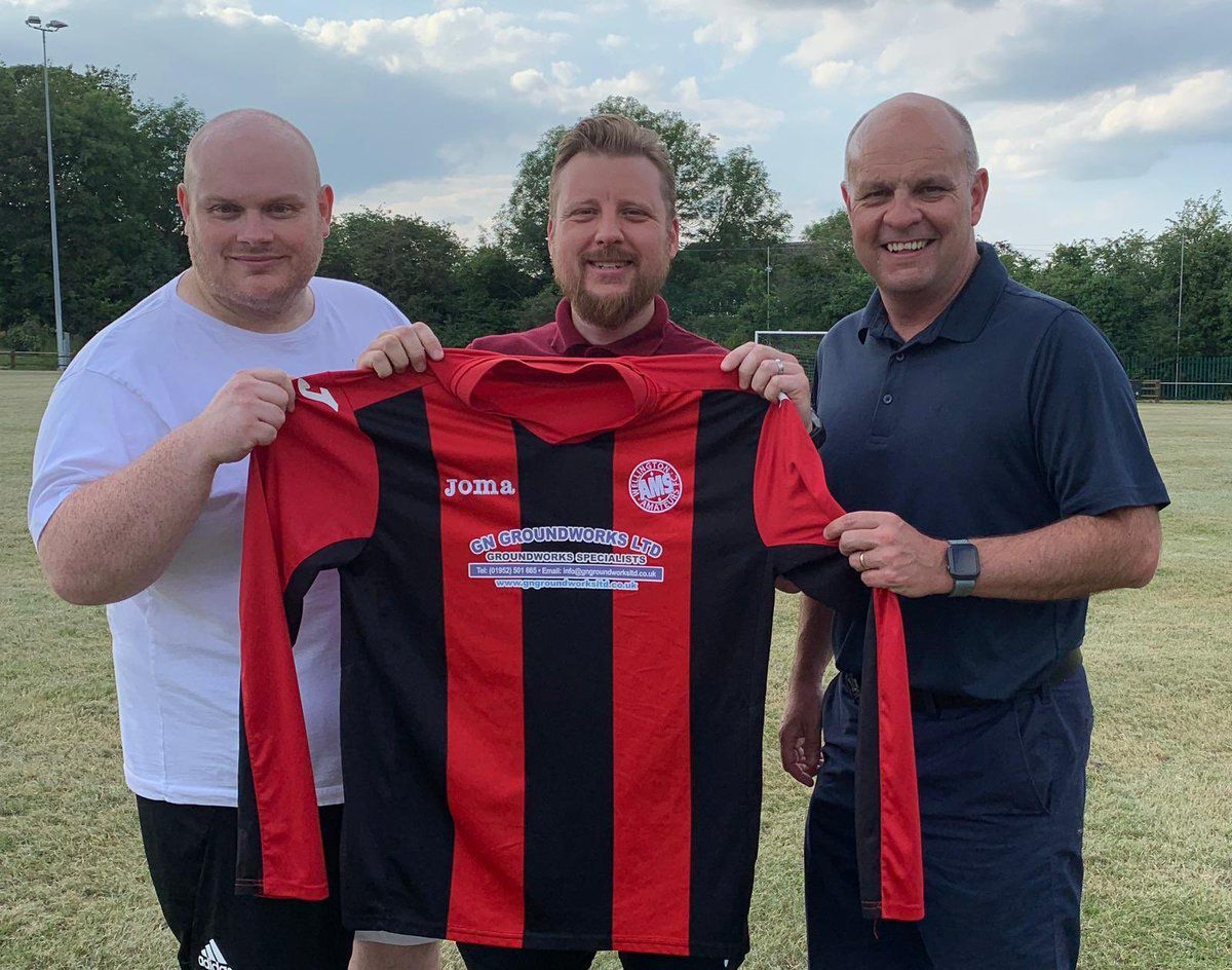 New Amateurs boss Mickey Baker, left, with assistant Stuart Cassells, centre, and chairman Paul Gregory