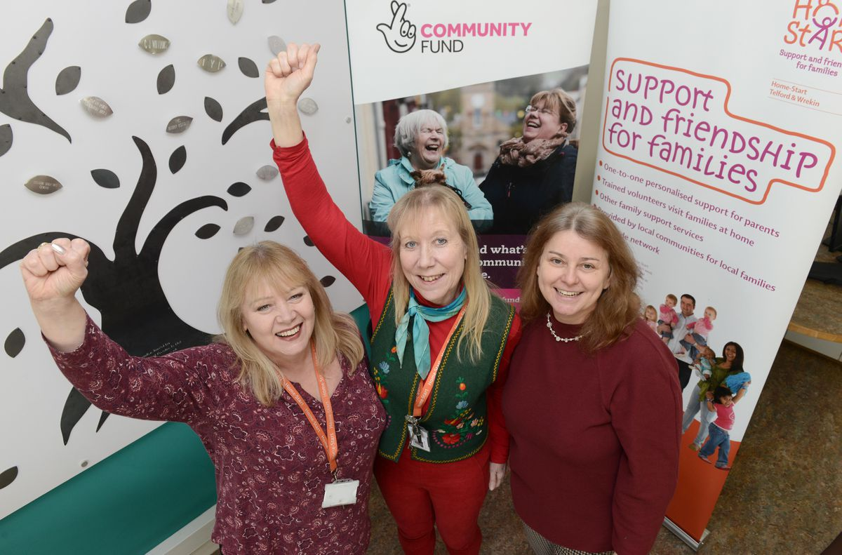 Caia Bryant-Griffith, centre, and Vikki Thomas, left, pictured with Lynne Carney from National Lottery Reaching Communities as Home-Start Telford & Wrekin, based in Wellington