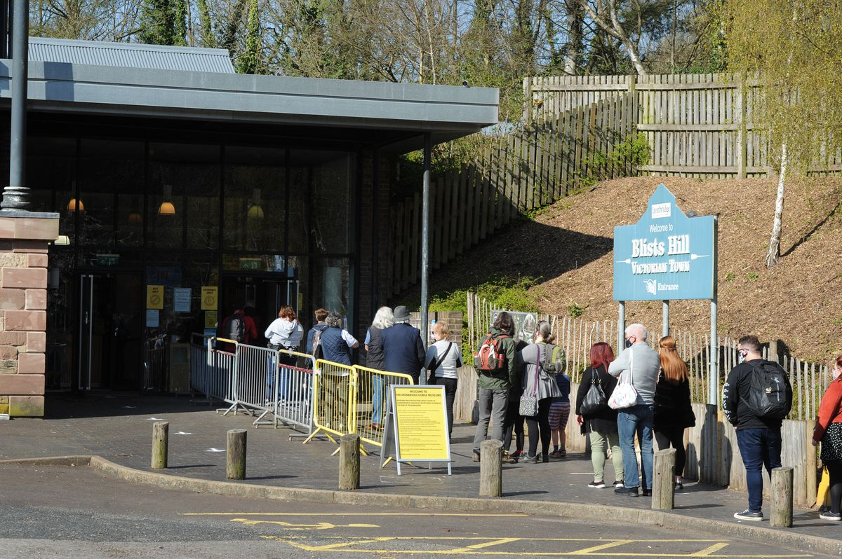 People queue at Blists Hill Victorian Town