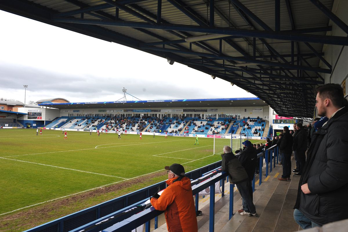 A general view of the action as 1200 people watch Telford vs Kettering despite Coronavirus fears during the Vanarama Conference North fixture between AFC Telford United and Kettering at The New Bucks Head on Saturday, March 14, 2020...Picture: Mike Sheridan/Ultrapress