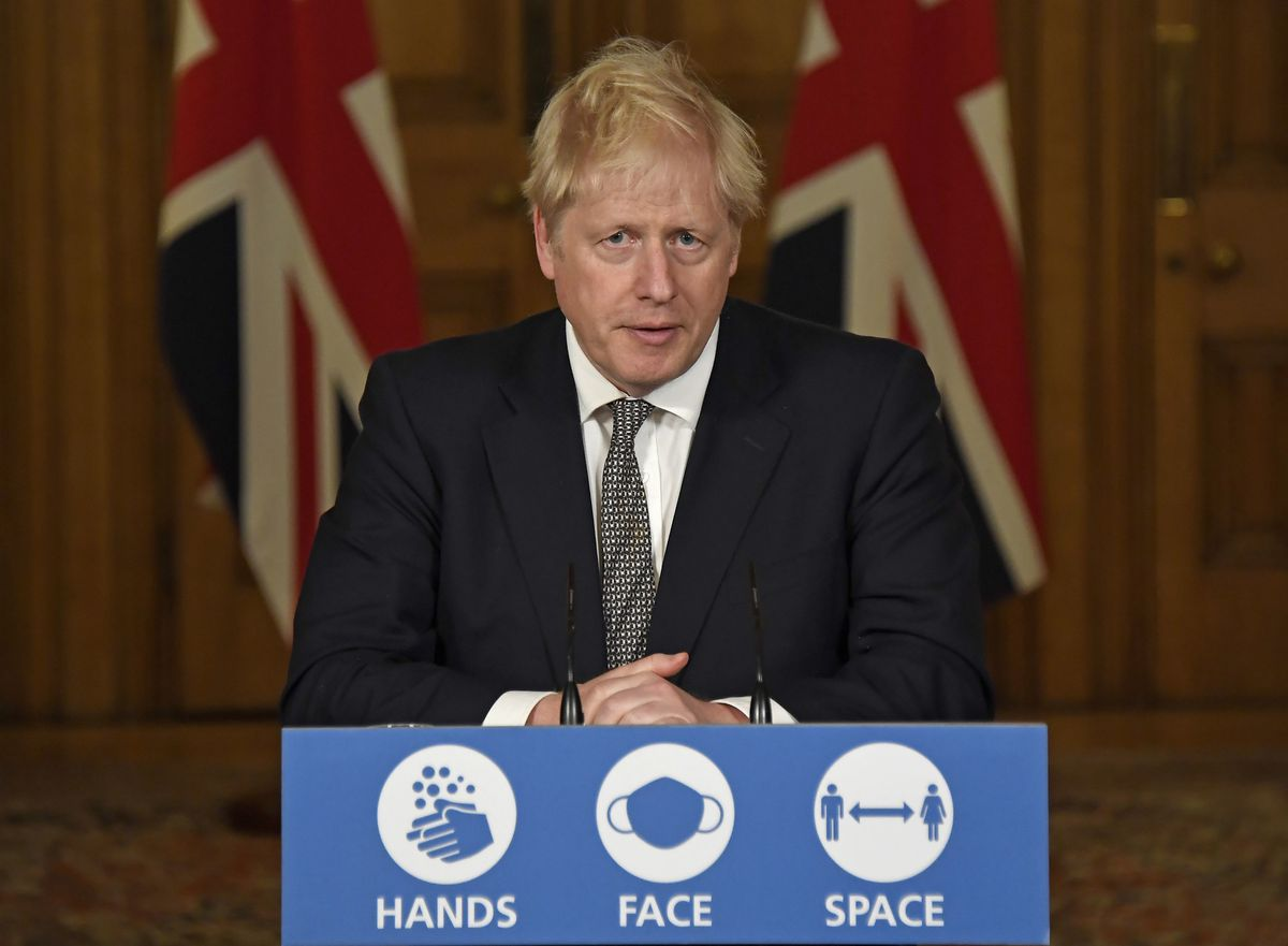 Prime Minister Boris Johnson during a media briefing