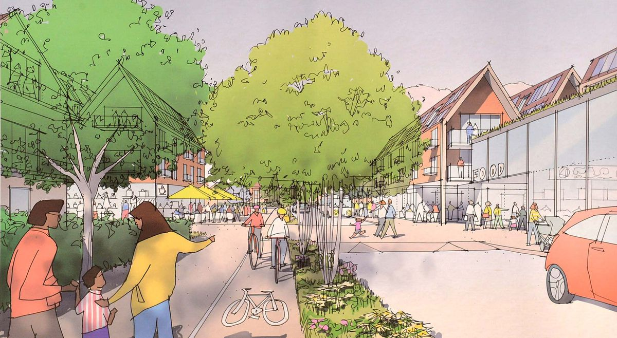 Plans on display for the proposed development. Gateway and local centre from proposed roundabout.