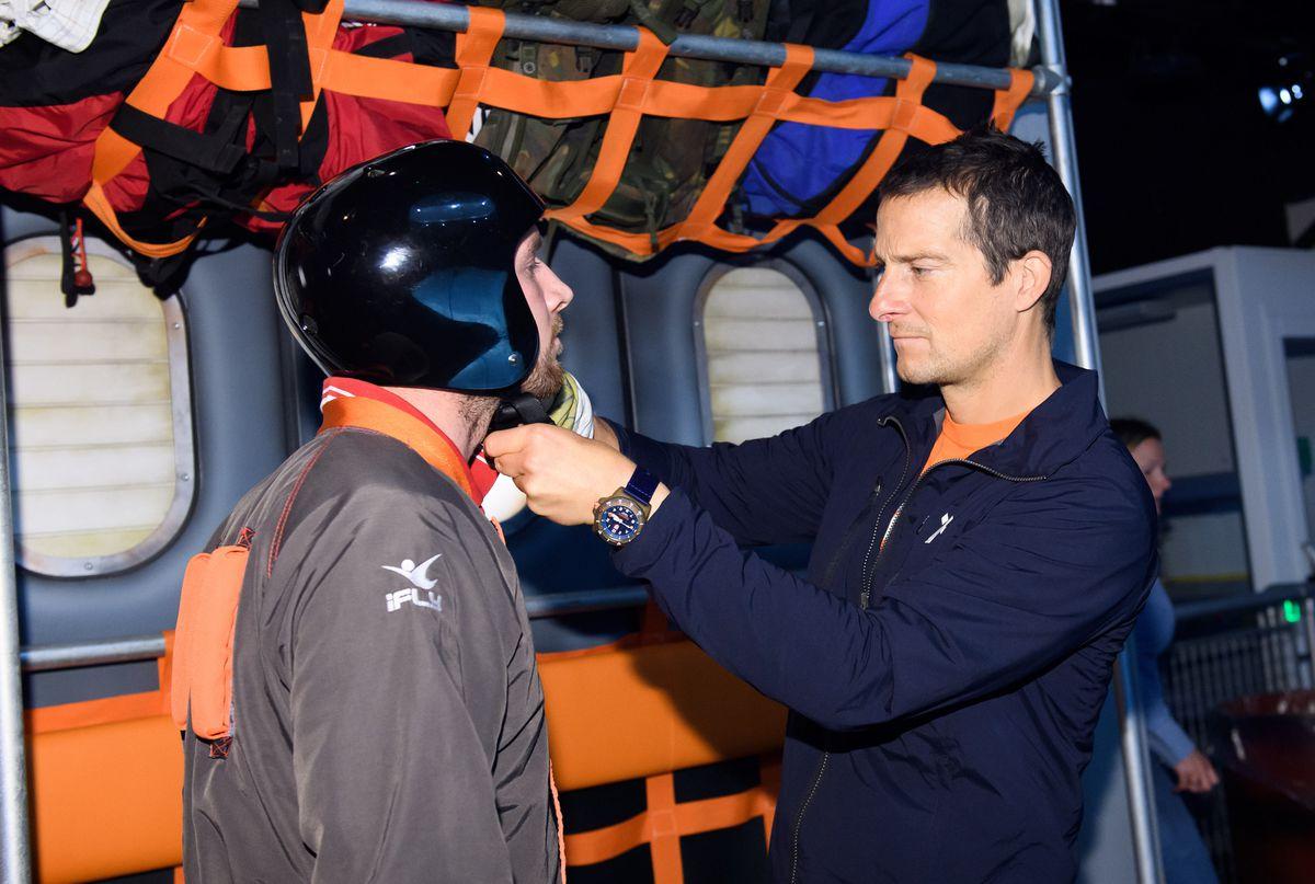 Bear Grylls overseas customers in the iFLY Indoor Skydiving