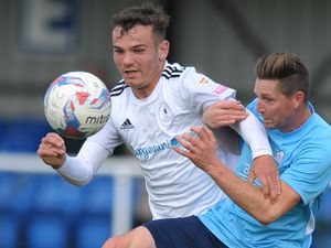 TELFORD COPYRIGHT MIKE SHERIDAN Trialist Jordan Davies during the pre-season friendly between Ellesmere Rangers and AFC Telford United at Beech Grove, Ellesmere on Saturday, September 5, 2020...Picture credit: Mike Sheridan/Ultrapress..MS202021-022.