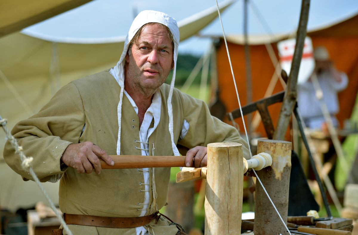 Pete Allport from Lichfield demonstrating traditional wood turning at the Battle of Shrewsbury re-enactment weekend