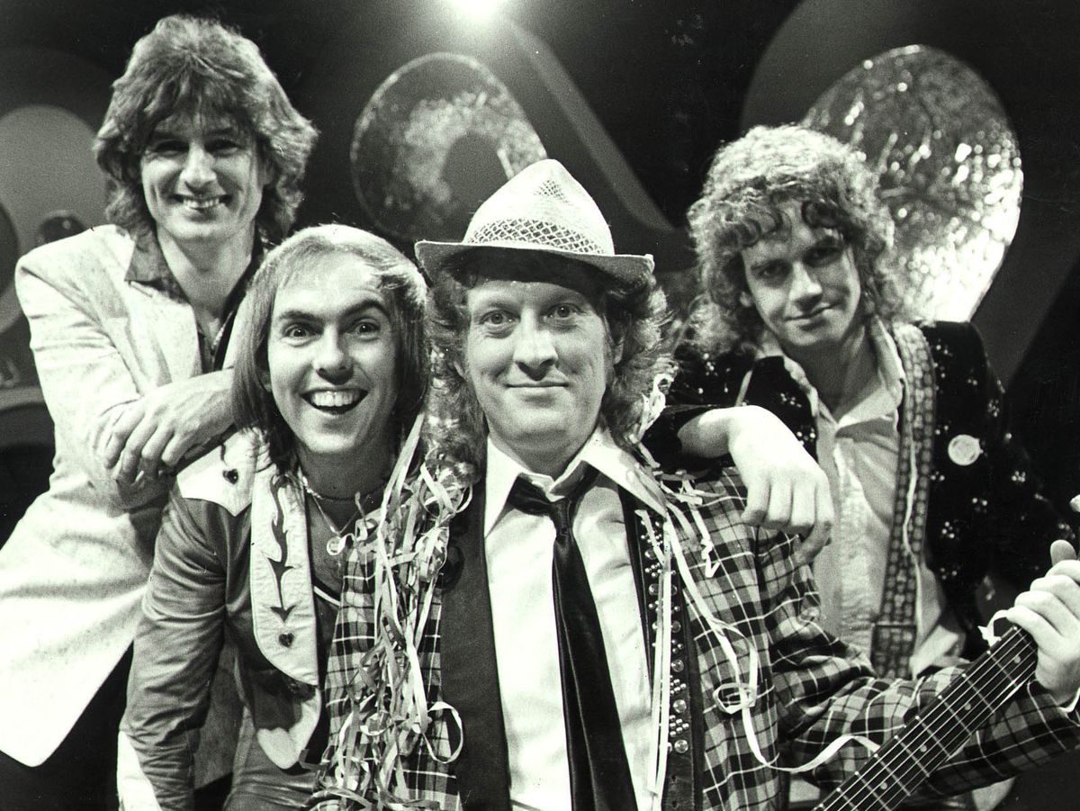 Slade promoting their 1973 festive single Merry Xmas Every Body