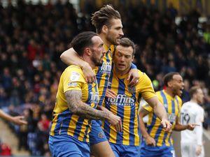 Ryan Bowman of Shrewsbury Town celebrates after scoring a goal to make it 1-0 (AMA)