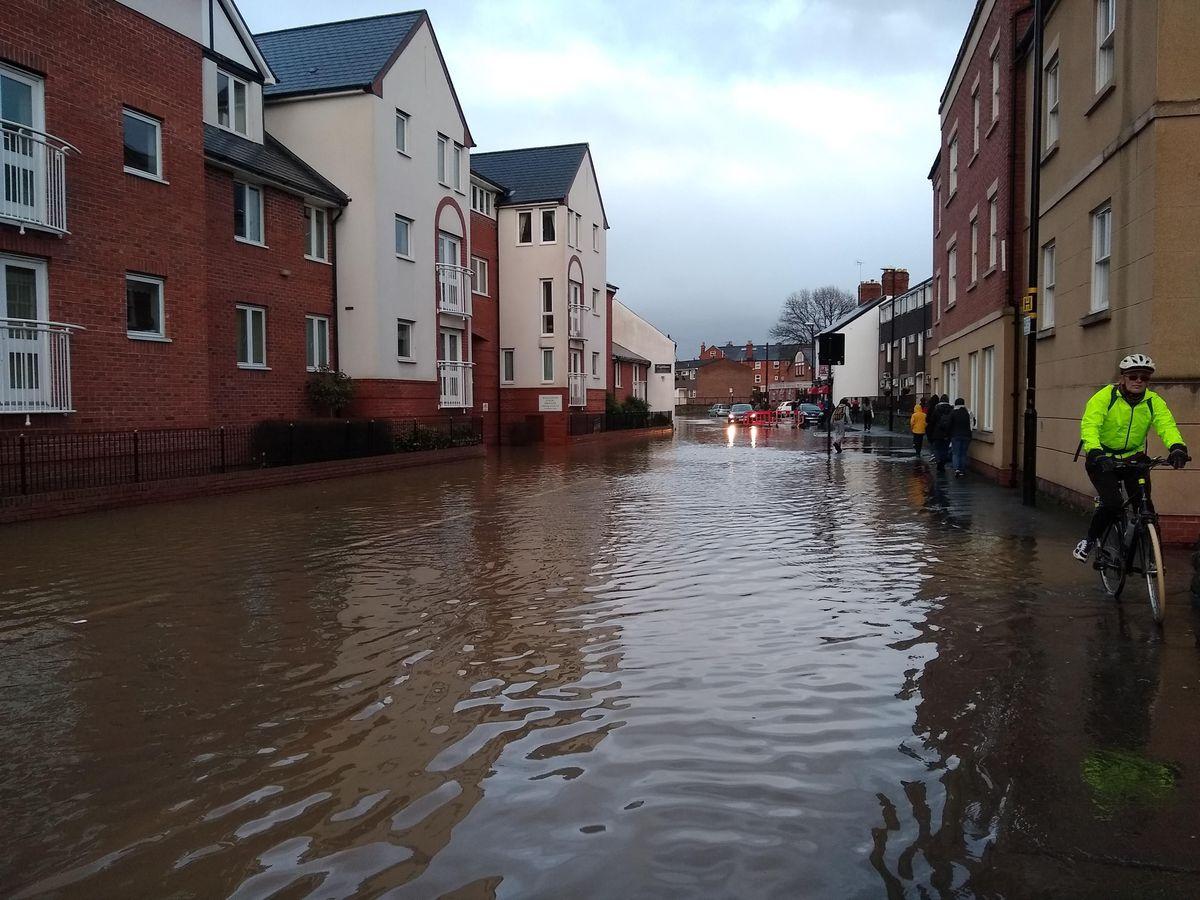 Flooding in Coleham, Shrewsbury, yesterday afternoon