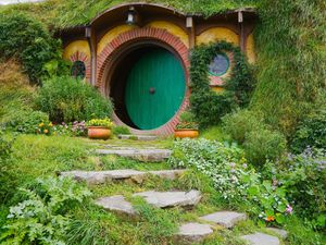 A stock image of a Hobbit home - not included with the application