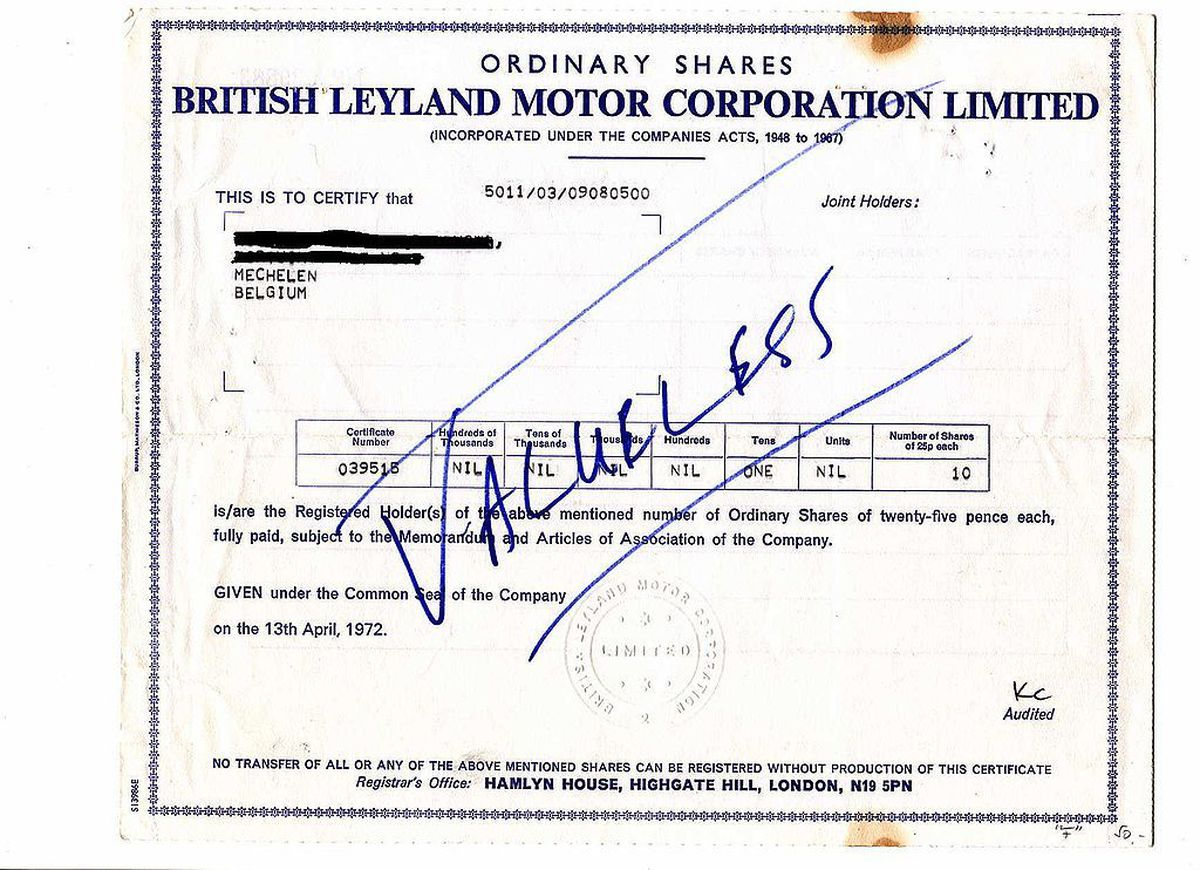 Valueless – a British Leyland share certificate