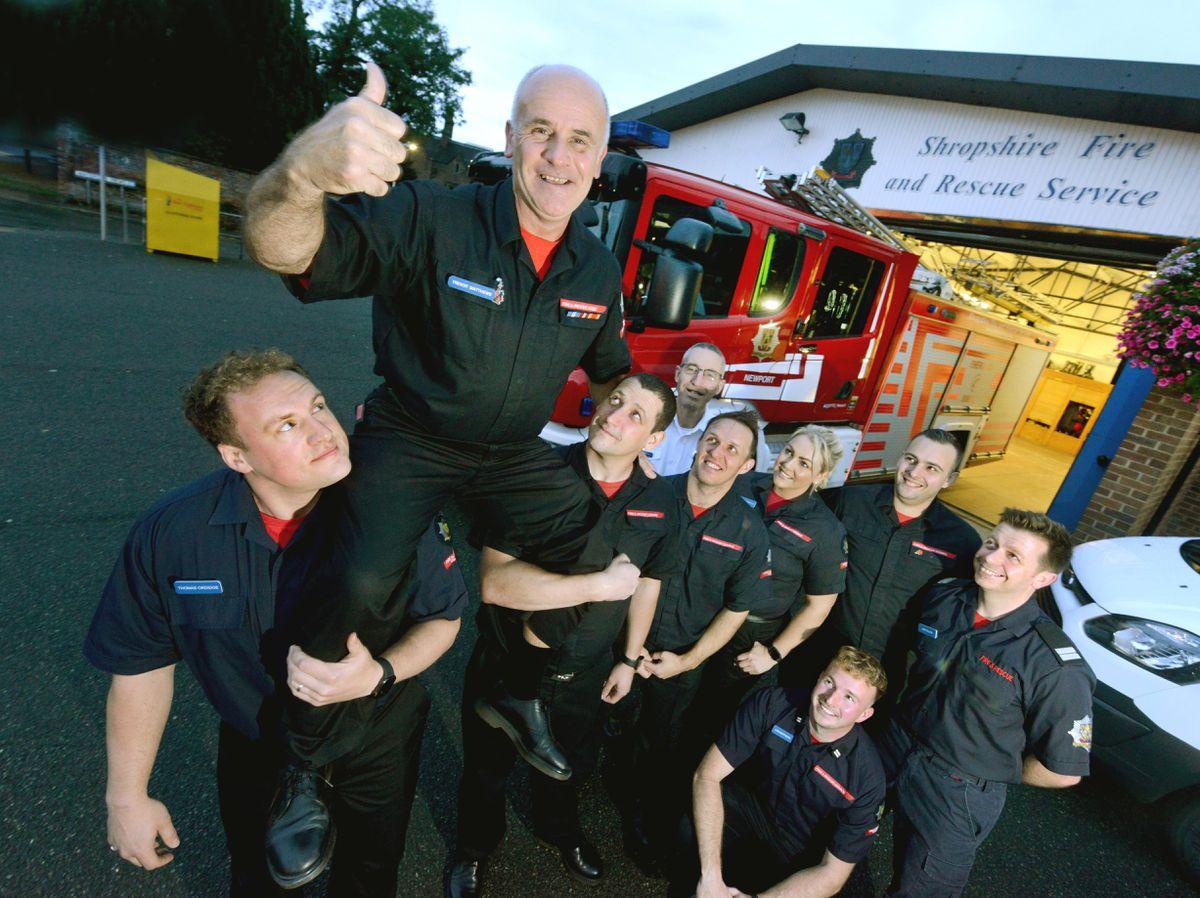 Trevor Matthews is retiring after 35 years as a firefighter. With him kneeling is his son, Liam Matthews, then L-R: Thomas Ordidge, Christian Frain, Charlie Cartwright, Craig Hartland, Rachel Freeman, Dan Thomas and Jon Pullen