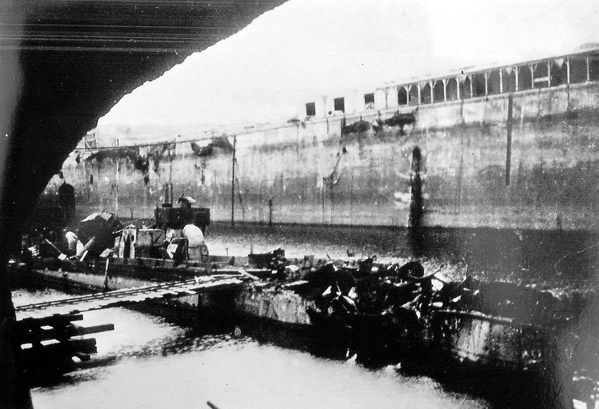 The dock at Saint-Nazaire immediately after the attack