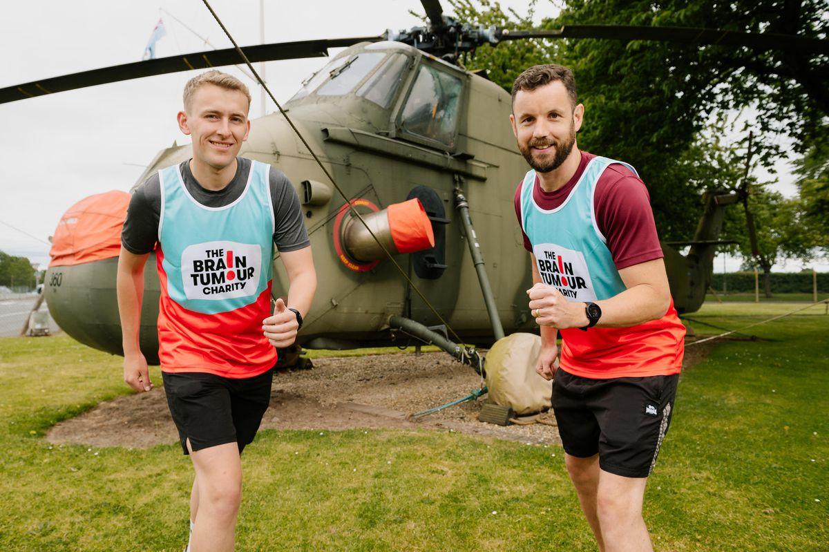 Sam Bradshaw and Lee Benson, of RAF Shawbury, have so far raised £1,145