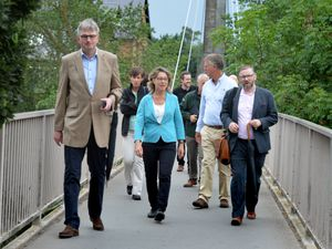Flooding Minister Rebecca Pow met with council officials, councillors and Shrewsbury MP Daniel Kawczynski on her visit to Shrewsbury