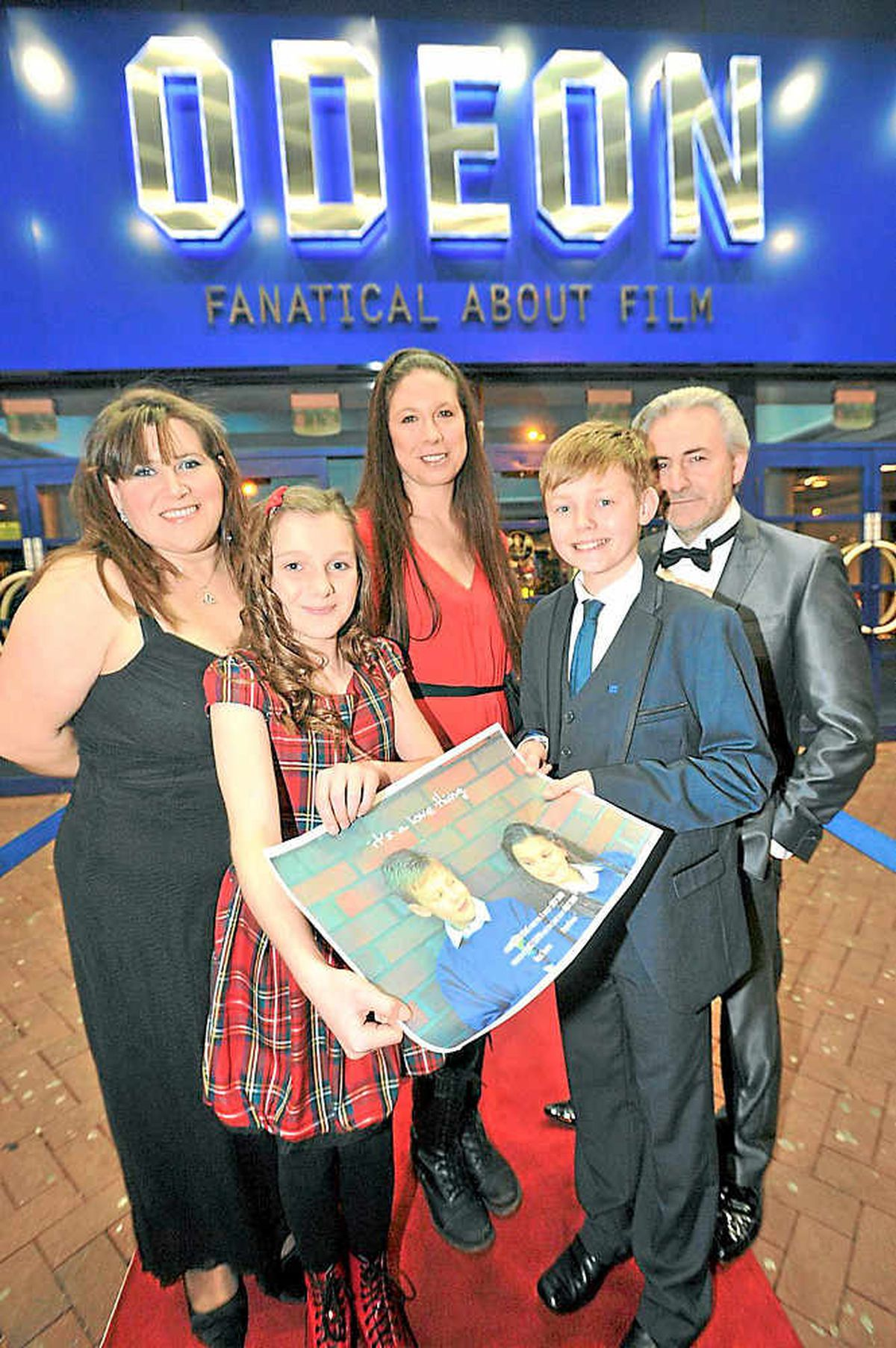 Members of the cast and crew from It's A Love Thing at its premiere at the Odeon in Telford. Claire Hickman, Hollie Thoupos, Sarah Whitehouse, Peter Overal, Andy Dodd