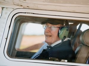 Former RAF pilot John Trotman at the controls of a Cesna light aircraft for a flight from Sleap Aerodrome near Wem