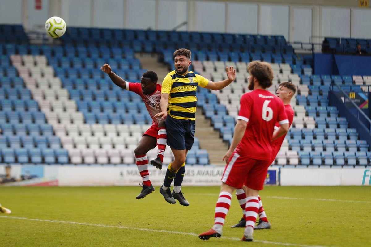 Brad Sharman of Shifnal Town scores a goal to make it 1-0 Pic: James Baylis