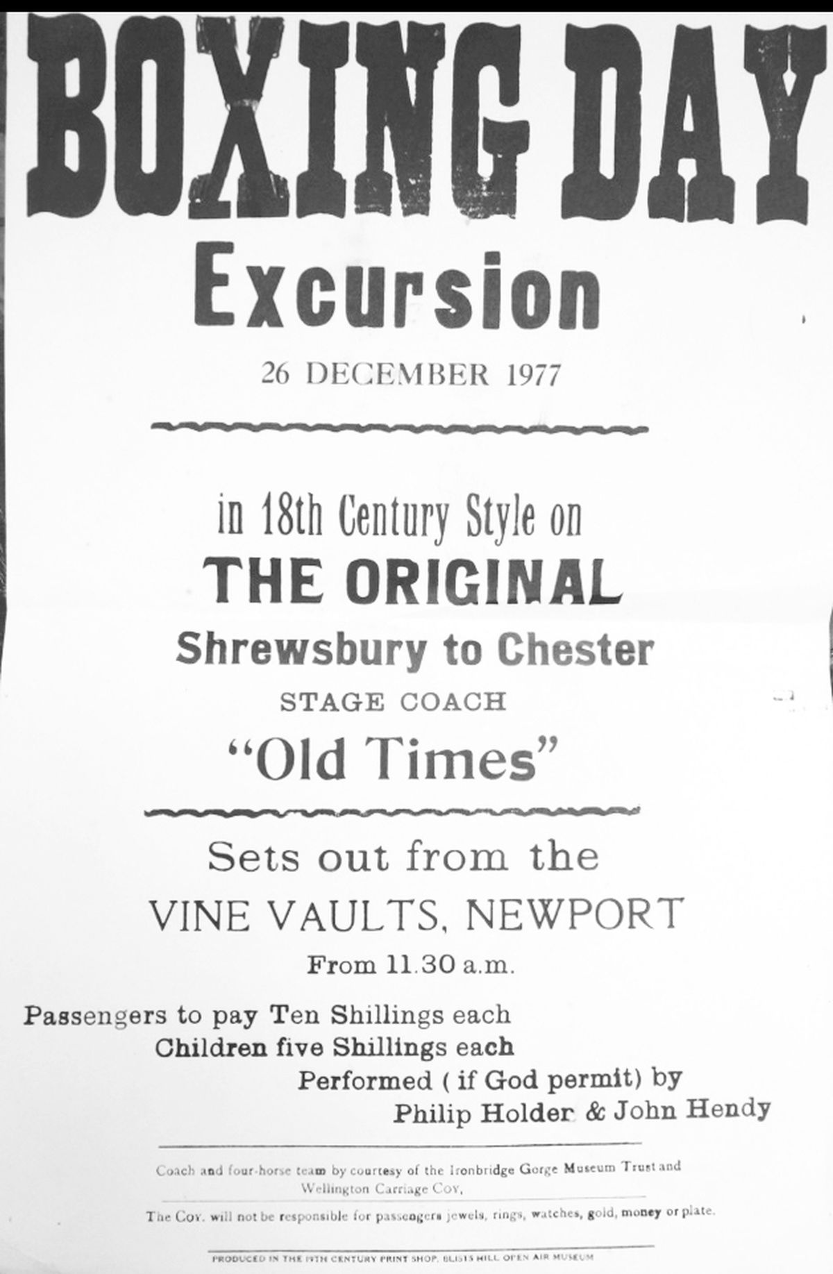 A poster for a Boxing Day excursion in 1977 on Old Times, setting out from the Vine Vaults in Newport.