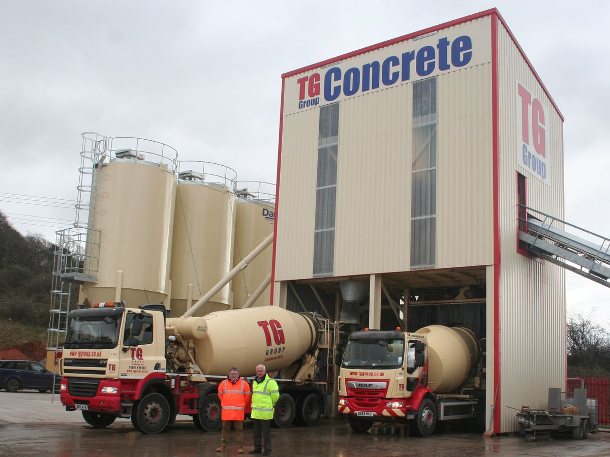 TG Concrete general manager Dave Morris and TG Group managing director Tudor Griffiths at the new Bridgnorth plant