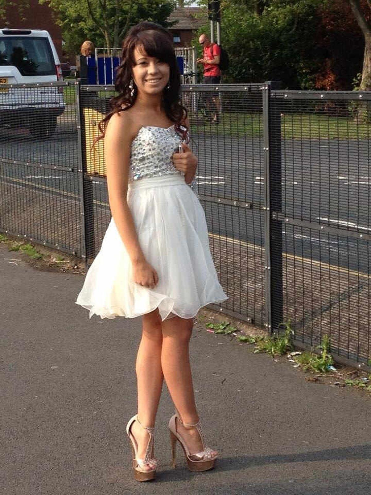 Emily Walker ready for Sundorne School prom, Shrewsbury