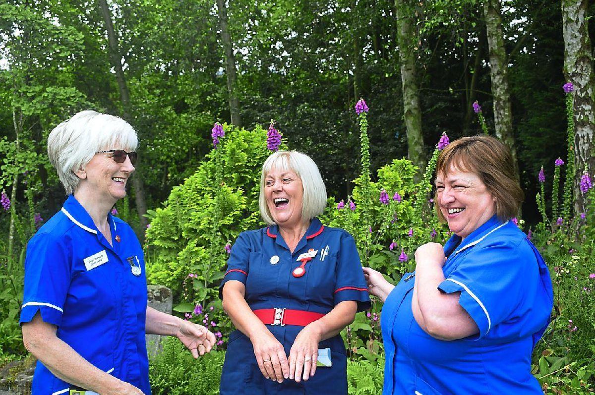 Jean Dorsett, matron Helen Duce and staff nurse Christine Johnson celebrate 30 years at Severn Hospice