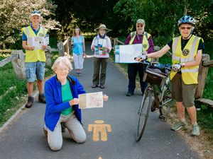 Member of Wellington Walkers Are Welcome, from left, Malcolm Skelton, Jean Escott, Pam Hill, Jennie Coalbran, Bob Coalbran and Naomi Wrighton promote footpath and cycle routes