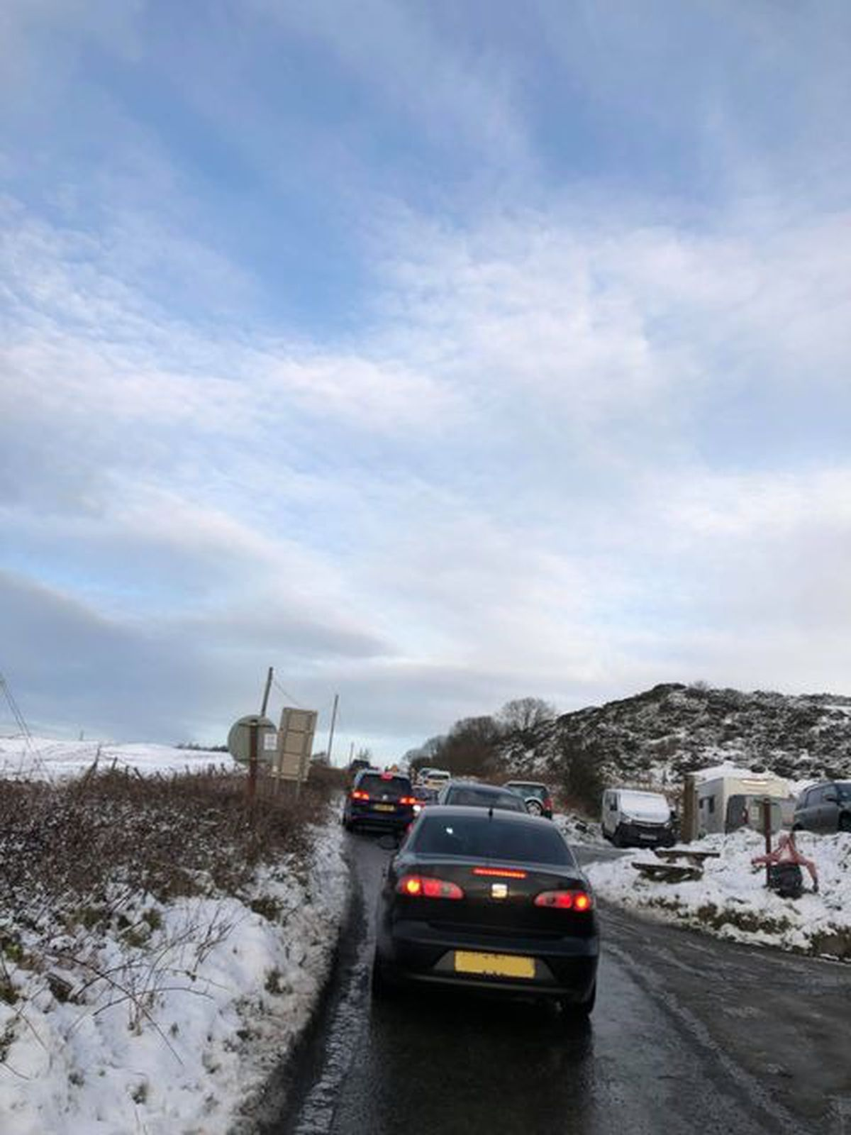 Drivers have been queueing to drive to the summit
