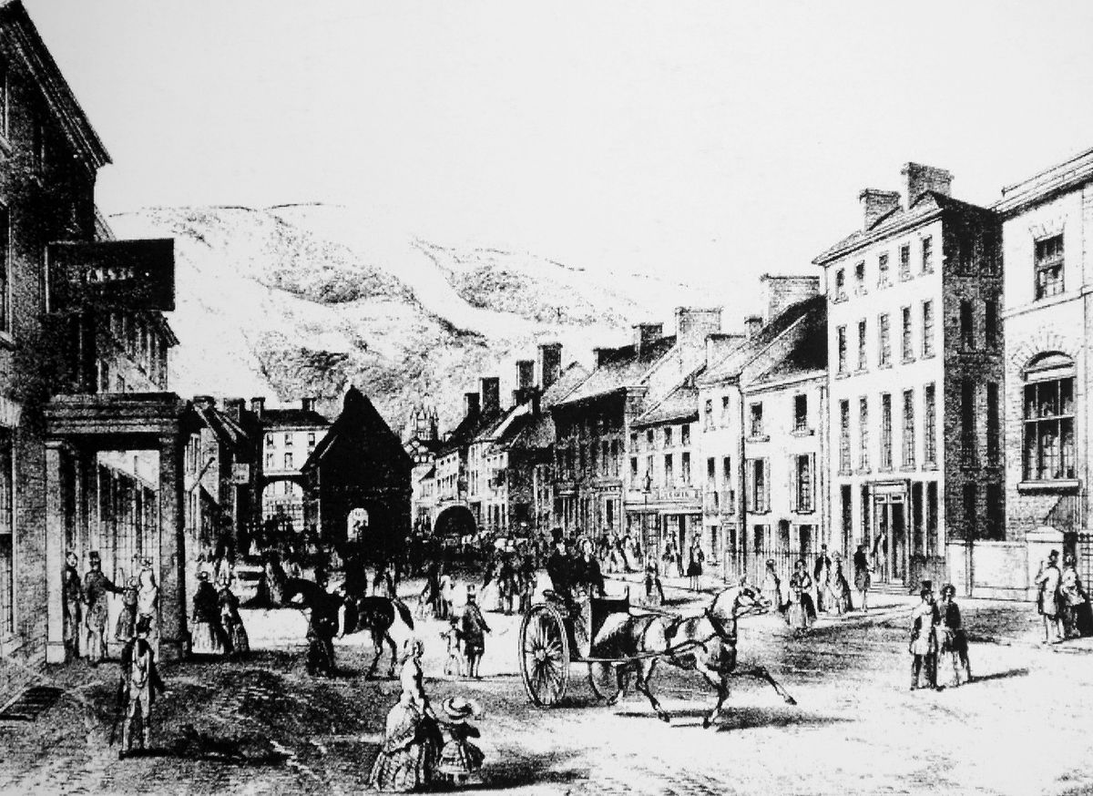 Broad Street in Newtown as it was at the time Nicholls' account was transcribed.
