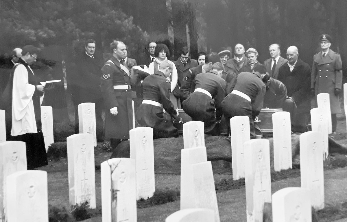 Laid to rest at last. Carr is buried in 1979 with full military honours. David Thorp is third from left, and Carr's niece is the young woman centre in a light top.