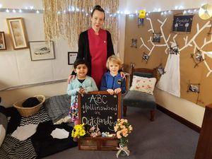 Staff member Vicki Booker with Avisa Raina, 3, and Adam Mitchell, 3, at ABC Hollinswood
