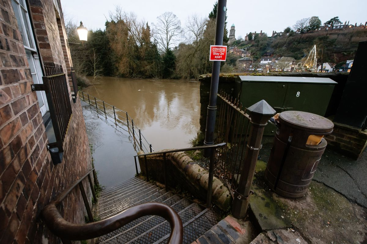 Flooding along the River Severn in Low Town, Bridgnorth