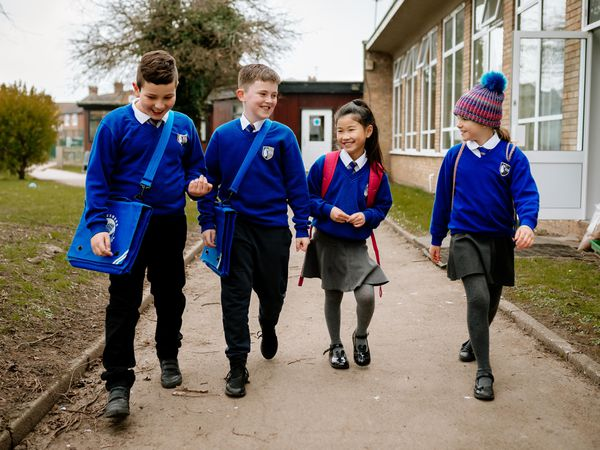 NORTH COPYRIGHT SHROPSHIRE STAR JAMIE RICKETTS 08/03/2021 - First day back for Ellesmere Primary School Children. In Picture L>R: Alex Naydenov 8, Leon Birch 8, Abigail Yiu 9 and Kitty Perks 9.