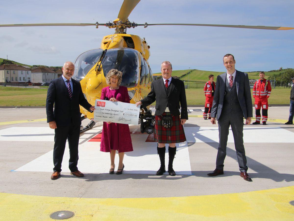 Simon Jones, HELP Appeal; Catherine Black, Robert's wife; Eric Spence, South Kintyre Development Trust; and Stuart McLellan
