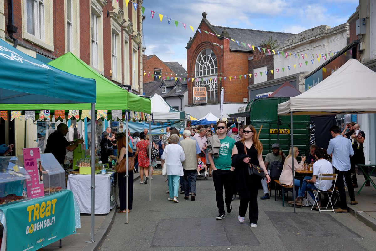 The centre of Oswestry was bustling
